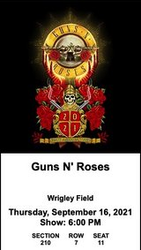 GUNS N' ROSES at Wrigley Field, Thurs. 9/16 in Chicago, Illinois
