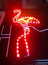 Pink light up Flamingo outdoor decor in Chicago, Illinois