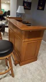 Solid oak bar with 2 bar stools in Algonquin, Illinois