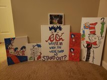 Dr Suess and Pokémon canvases in Cherry Point, North Carolina