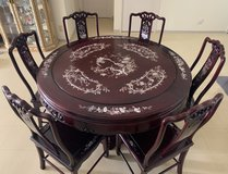 Rosewood with Mother of Pearl Inlay Dining table with seats 6 in Okinawa, Japan