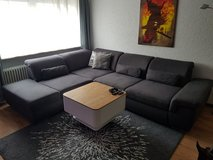 Big wild leather couch with bed and adjustable backrest in Ramstein, Germany