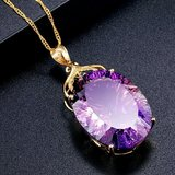 18kGold Plated 36CT Amethyst Oval Crystal Pendant Necklace in Fort Lewis, Washington