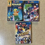 Lot of 3 DVDs LEGO DC Super Heroes w/ MINI FIGURES New in Vacaville, California
