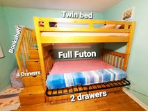 Wood Bunk Bed with Twin and Full Matresses Included with lots of storage in good shape. in Spring, Texas