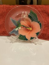 Retired Peggy Karr fused glass bowl Hummingbird with flower in Chicago, Illinois