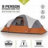 CORE 9 Person Tent  Extended Dome - 16' x 9',Orange  (New In Box) in Vacaville, California