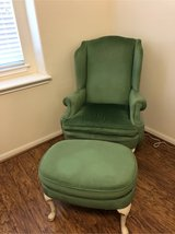 Antique Wing back Chair and Ottoman in Baytown, Texas