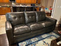 Pewter/Brown Leather Sofa Excellent Condition in Nellis AFB, Nevada