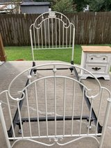 Reduced to $100 Iron Twin bed with nighstand in Spring, Texas