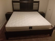 King Size Bed w/mattress + box springs. 2x Nightstands included in Quad Cities, Iowa