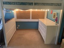 Full size Loft bed, low profile mattress, ladder, bulletin board and dresser in Glendale Heights, Illinois