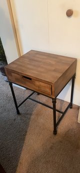 wooden top metal base night stand. in Aurora, Illinois