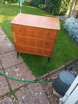 1970s Chest of drawer's vintage 3 drawers, Tempo product London label on the back in Lakenheath, UK