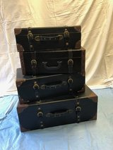 Stackable Leather Luggage (4) in Aurora, Illinois