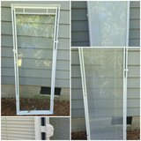 Cordless add on enclosed aluminum blinds white glass door in Warner Robins, Georgia