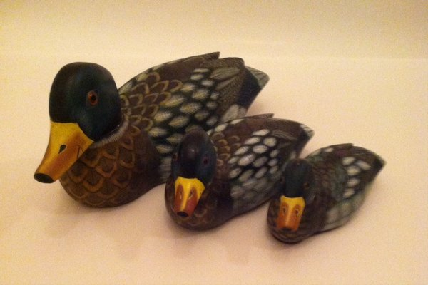 3 Wooden Carved Ducks Collectibles For Sale On Naperville Bookoo