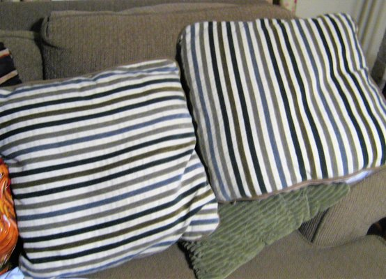 2 Throw Pillows Striped Brown Tan Beige Taupe Cream 20 Removable
