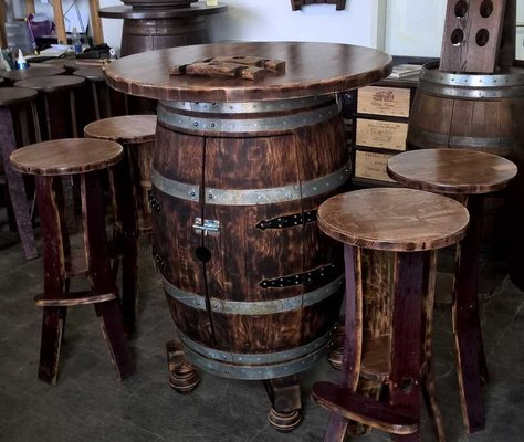 Awe Inspiring Wine Barrel Table Bar With 4 Bar Stools Furniture Home Forskolin Free Trial Chair Design Images Forskolin Free Trialorg