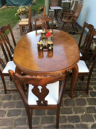 Beautiful Antique Solid Wood Dining Table 6 Chairs From France