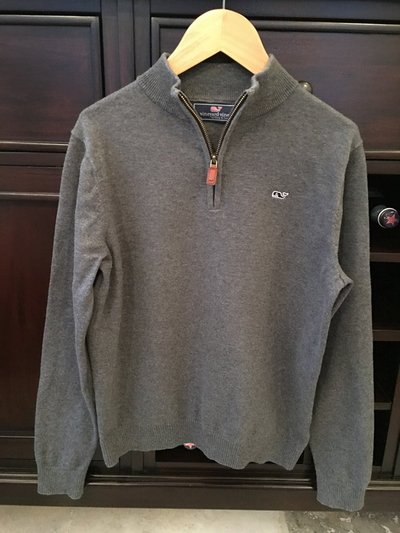 aa1db3ade Boys Vineyard Vines Classic 1 4-Zip Sweater - Grey Size M (10-12 ...