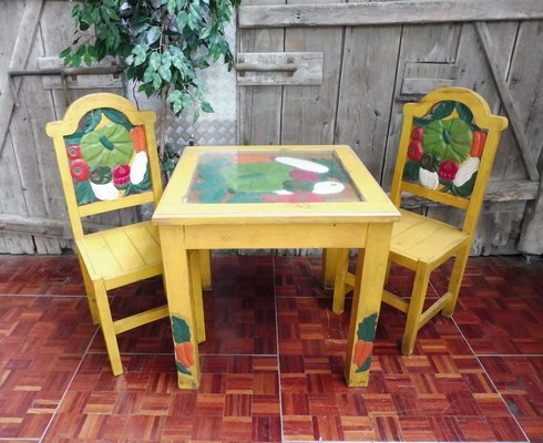 Hand Carved Painted Imported From Mexico 2d Table With 2
