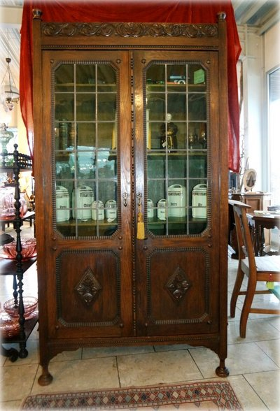 Library Cabinet With Stained Glass Doors Antiques By Dealer For