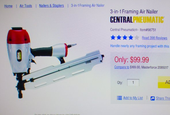 CENTRAL PNEUMATIC FRAMING NAILER | Tools for sale on Kingwood bookoo!