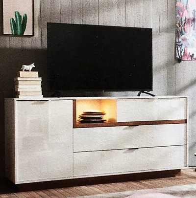 Nib White Tv Stand Or Cabinet Lighted With Oak Highlights