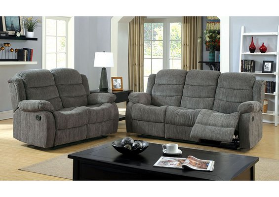 Peachy New Comfy Grey Fabric Quality Sofa Love 2Pc Recliner Ocoug Best Dining Table And Chair Ideas Images Ocougorg
