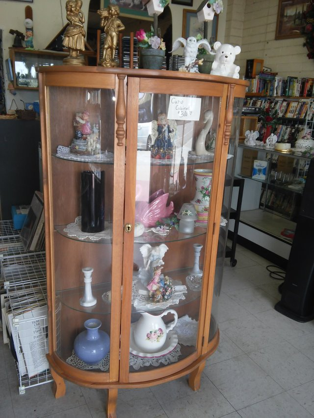 All wood curio cabinet rounded glass in 29 Palms - All Wood Curio Cabinet Rounded Glass Furniture: Home - By Dealer