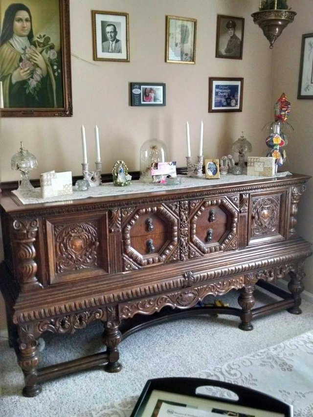 jacobean hand carved formal dining room set circa early 1900's