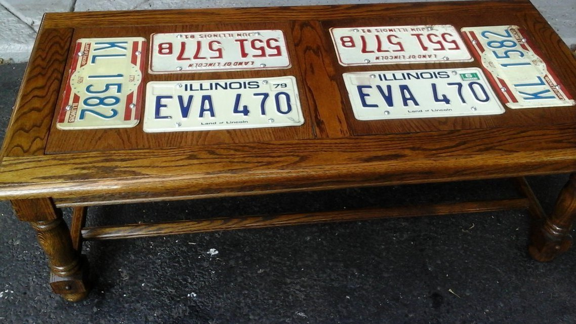 Man Cave Automotive Guy Coffee Table W/ Vintage Auto License Plates In  Wheaton