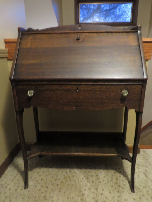 ANTIQUE HARDWOOD DROP DOWN SECRETARY DESK in Wheaton - ANTIQUE HARDWOOD DROP DOWN SECRETARY DESK Furniture: Home - By