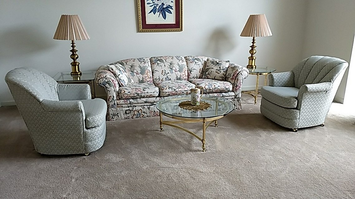 Bassett Barrel Chairs Bradley Sofa, 3 Brass And Glass Tables 2 Lamps And  Picture In