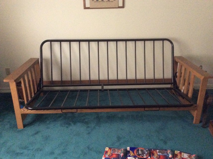 Black metal and wood futon frame | Furniture: Home - by owner for ...
