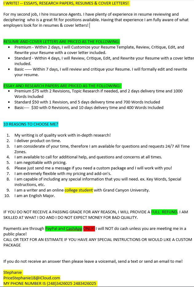 I WRITE! -- ESSAYS, RESEARCH PAPERS, RESUMES & COVER LETTERS! | Jobs ...