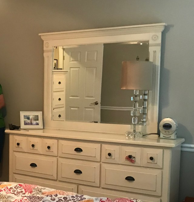Solid Wood White Dresser And Mirror In Wheaton