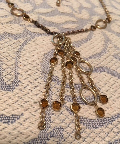 Vintage Necklace Gold Colored Chains with Topaz Crystals